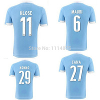 Top thailand quality kits 2014 15 Italy FC Lazio Soccer Jerseys #11 KLOSE Home football Shirts light blue soccer uniforms+logos