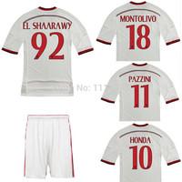 High quality kits 2014 15 Italy AC Milan soccer jerseys+shorts SHAARAWY TORRES 3rd away football shirt white soccer uniforms set