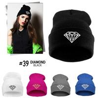 [Magic] 2014 Hot big diamond logo women/men casual cotton Knitted hat Hip hop dance Hat Caps fashion Skullies & Beanies 9colors