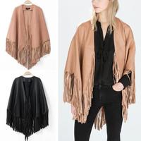 Women's ZA Trendy Faux Leather Tassels Cape Cloak Bat Sleeve Cardigan Shawl Jacket Coat Outerwear 2014