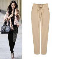 5XL Plus Size Slim Fit Baggy Long Pants Harem Drawstring Korean Women Clothing New 2014 Casual Solid Black Khaki
