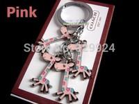 2pcs/Lot free shipping lovely giraffe keychain / cute key ring/bag pedant 3 colors