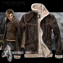 Biohazard  Resident Evil 4 Leon Kennedy's Costume Leather Coat Jacket Cosplay PU Faur Jacket Long-sleeve Winter Outerwear Coat(China (Mainland))
