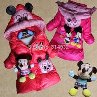 2014 High Fashion Children cotton-padded jacket kids thickening overcoat,Baby outerwear Girls Cartoon Animation wadded coat M-XL