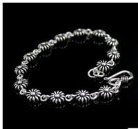 925 sterling silver jewelry Sleek sterling silver bracelet retro male and female ornaments Thai silver bracelets