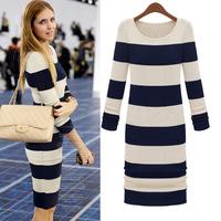 Street fashion long-sleeve slim one-piece dress stripe knitted dress step autumn basic slim hip dresses