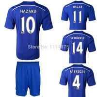 High quality Kits 2014 15 Chelsea Soccer jerseys+shorts FABREGAS HAZARD TERRY Home football shirt blue Soccer uniforms set+logos