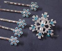 6pcs FROZEN Queen Elsa Cosplay Hairpin Snowflake bodkin hair clips pins Barrettes Kids Girls birthday Christmas Gift Headwear