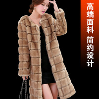 Female medium-long 2014 faux overcoat Women outerwear female autumn and winter mink hair