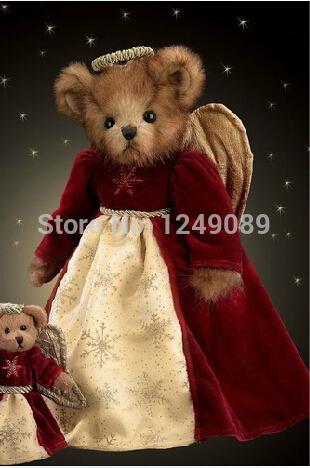Free shipping wholesale 14 inch Bearington teddy bear with angel dress stuffed plush doll for kids(China (Mainland))