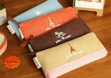Retro Cotton & Linen Paris Canvas 19CM School Kids Pen Pencil BAG Case ; Women Cosmetics Purse BAG & Wallet Coin Pouch BAG Case(China (Mainland))