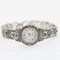 Free shipping 2014 new fshion Thai silver women vintage carved bracelet watch women's rhinestone watches ladies quartz watch