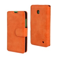 30pcs/lot Free Shipping Book Style 2 Card Slots Matte Leather Case with Stand For Nokia Lumia 630
