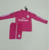 Youth  Ronaldo  bale  JAMES  14/15 Real Madrid away  kid Long Sleeve Jerseys pink shirt 2014/2015 Cheap kids Soccer Football kit