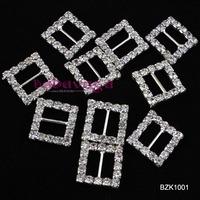 Free Shipping 50pcs 15MM Square Wedding Invitation Clear Rhinestone Buckle Diamante Ribbon Slider