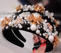Wide fashion handmade vintage baroque pearl hair hoop