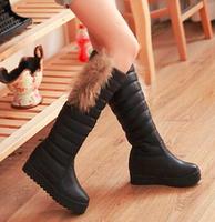 35-39 Size Women Knee High Snow Boots PU Leather Brand Designer Fashion Winter Flat heels Ladies Platform Warm Short Boots 2014