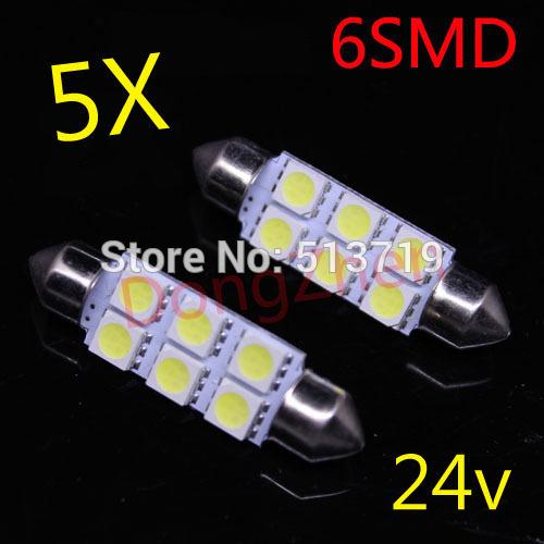 2014 new 5X 24v 6 SMD LED 41 39 36 31mm White Car Dome Festoon Interior Light Bulbs Auto Car Festoon Licence Plate Dome Roof(China (Mainland))