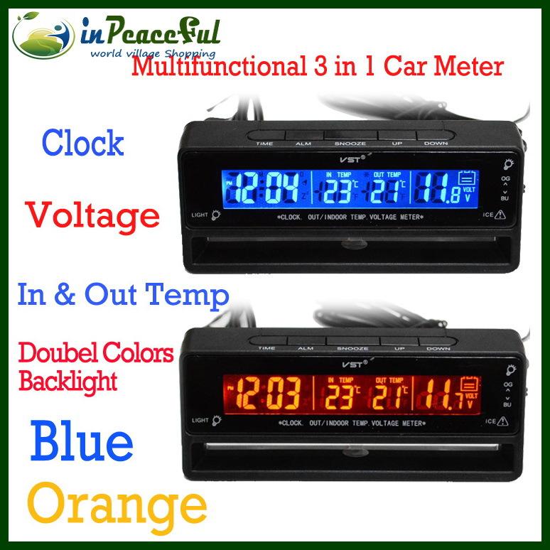 New Arrival 12V/24V Digital Auto Car Thermometer+Car Battery Voltmeter Voltage Meter+Noctilucous Clock+Freeze Alert VST-7009V(China (Mainland))