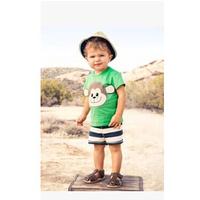 October Children's clothing wholesale 210998 BOYS monkeys t-shirt + stripe Shorts casual 2 piece sets 6set/lot