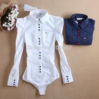 2015 New Fashion Brand Shrug One's Shoulders Metal Decoration Collar Pocket Blue & White Elegant Bodysuit Shirts For Women
