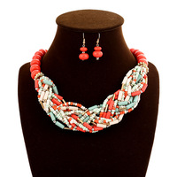 Romantic wedding beads jewelry sets for bridal women necklace & earrings set wholesale