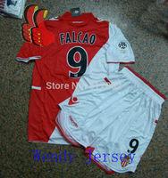 A+++ 2014 Monaco Top Men Suit Thailand Version 14 New Futbol Soccer Jersey Maillot De Foot 9# Falcao Football Shirt and Shorts