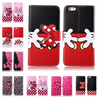 3D Cute Mickey Minnie Mouse Bowknot Dots Leather Wallet Case For Iphone 6 Plus 5.5 inch With Card Hloder Wholesale Free Shipping