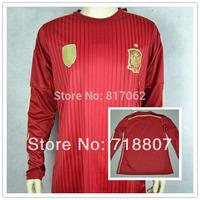 Long Sleeve Spain 2014 World Cup Jersey Red 14-15 Spain TORRES 9 Home Soccer Jerseys ISCO DAVID VILLA LS Thailand Fans Version