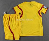 14-15 Liverp away yellow football uniform children thai quality soccer jersey boy's designer training tracksuit sport clothing