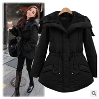 winter new women's Hooded long thick coat  models fashion down jacket outerwear black doudoune fourrure
