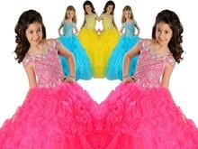 2015 Crew Spaghetti Straps Ball Gown Girls Pageant Dresses Sequins Beads Little kids Flower Girl Dress Junior Bridesmaid Dresses(China (Mainland))