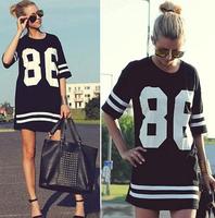 86 new 2014 summer women celebrity oversized loose short-sleeved T-shirt American baseball star models t shirt dress