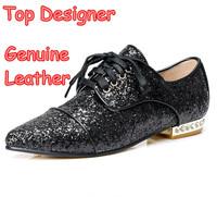 Send EMS Top Designer Women Pointed Toe Flats Fashion Lacing Paillette Rhinestone Gold Sliver Brand Ladies Ballet Wedding Shoes