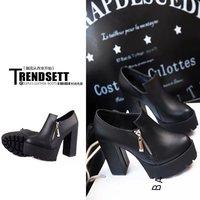 2014 fashion side zipper platform thick heel Boots high-heeled pumps shoes round toe high heels boots