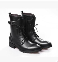 fashion men's black buckle lace up korean army denim short boots male british style trend of side zipper boots 9515