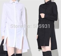 New Arriving Simple Grace Long Sleeve Asymmetric Long Shirts