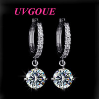 New top quality loop with 8mm 2ct round AAA Swiss CZ fashion classic brand drop earrings (UVOGUE UE0015)