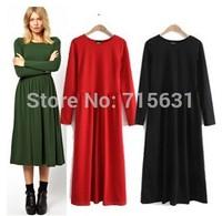 New 2014 Autumn Winter Women European and American Vintage Ladies Slim Long Sleeve Mid-Calf Dress Vestidos S-XL
