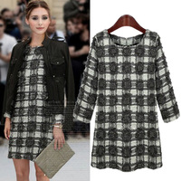 Plus Size Long Sleeve Slim Fit Black and White Plaid Fashion Dress For Autumn Winter Women Clothing 5XL