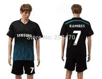 14-15 football player #7 RAMIRES jerseys soccer team away black uniform men's designer short sleeve sport tops training clothing