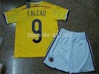 A+++ Top Kids Thai Suit 9# Falcao Jersey Boy Kid Kit 2014 Colombia Yellow Soccer Kits Futbol Football Shorts