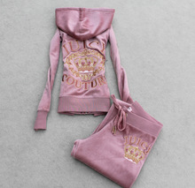 Women's Brand Crown Velvet  Embroidery  Tracksuits,Velours Suits,Sport Tracksuits,Hoodies & Pants  clothes Set(China (Mainland))