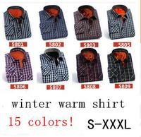 New arrival quality men's winter shirt warm long-sleeve shirt men casual shirt man dress shirt 15 colors S-XXXL Free shipping
