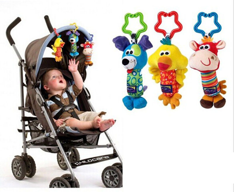 2015 Hot 1PC Baby Toys 3 design Rattle Hand Bell Multifunctional Plush Baby Toy Stroller Mobile Gifts 3M+(China (Mainland))