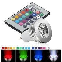 3W GU10 RGB LED Bulb 16 Color Change Lamp spotlight 85-265v for Home Party decoration with IR Remote Control