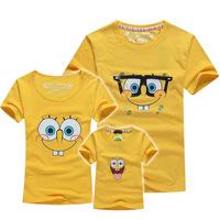 BIG SALE spongebob lovers t shirt family set summer parents-children tees Mum+baby+dad family clothes Masha QDX50