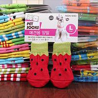 New 4Pcs Pet socks indoor Pet Dog Soft Cotton Anti-slip Knit Weave Warm Sock Skid Bottom Free Shipping 5sets/lot