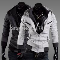 Brand New Hot Fashion cheap men's Sexy Slim Fit Sweatshirt Hoodies Hooded Casual Coat Outwear Jacket double zipper / 4 color