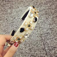 catwalk velvet handmade Cross-white hair bands hair accessories hairpin